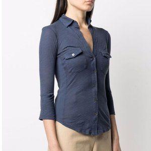 Standard James Perse Navy V-Neck Cotton Shirt - 4